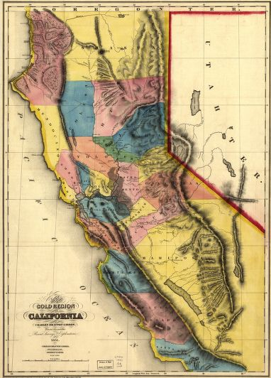 Map of the California Gold Region. Source: Library of Congress